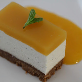 Cheesecake (no baking involved) with Brillat Savarin, Passion Fruit and Mango.