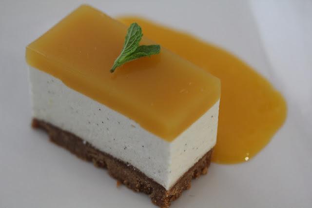 Cheesecake (no baking involved) with Brillat Savarin, Passion Fruit and Mango