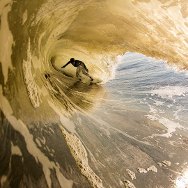Deep in a golden closeout by Dave Nilsen - Sports & Fitness Surfing