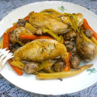 Sautéed Chicken With Leeks, Carrots, Parsnips and Mushrooms.