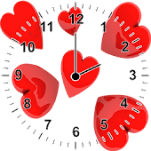 Love Heart Analog Clock Widget