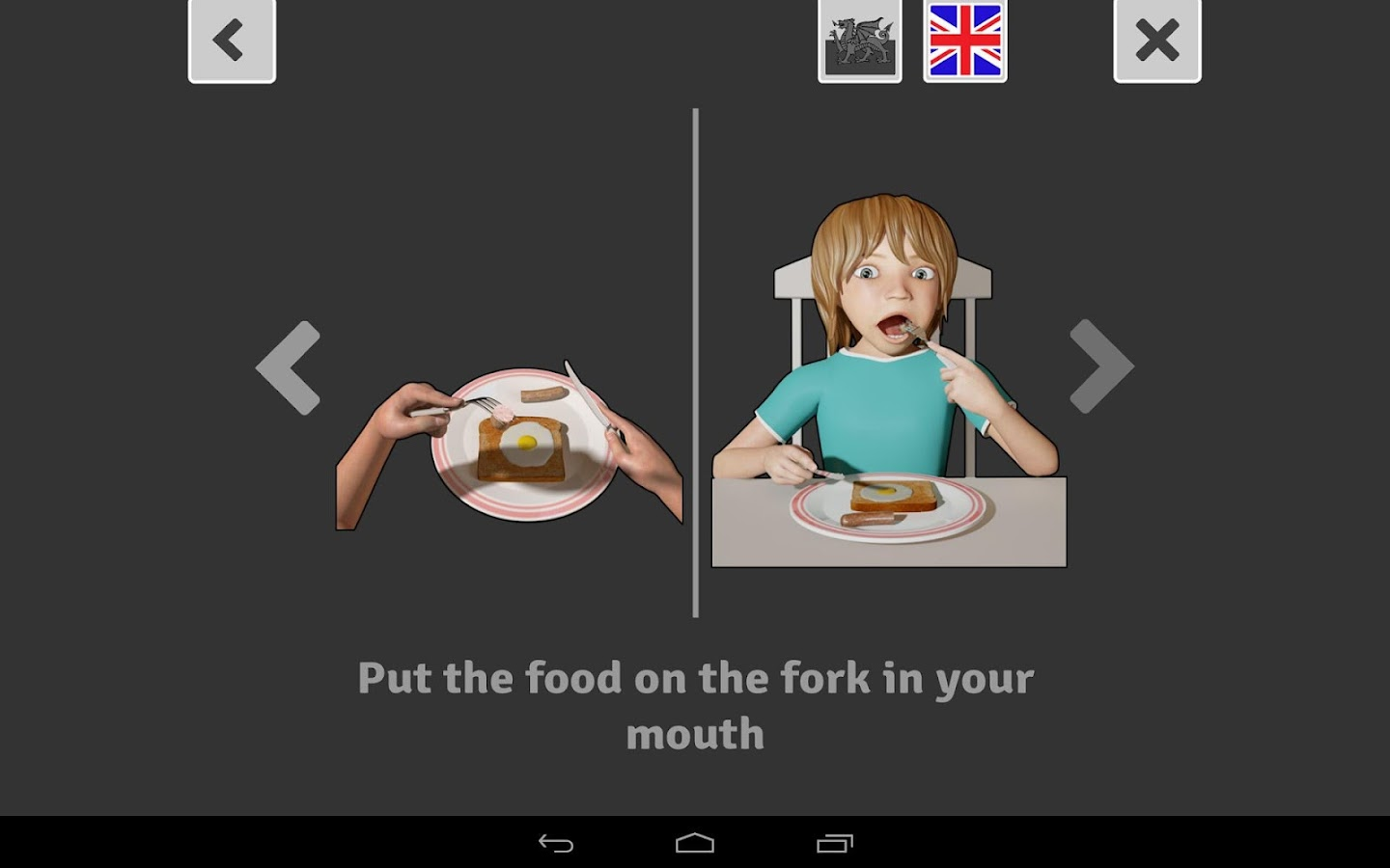 Eating with a knife and fork- screenshot