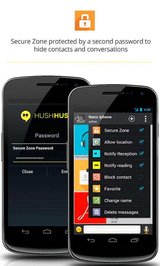 HushHushApp secure messenger. - screenshot