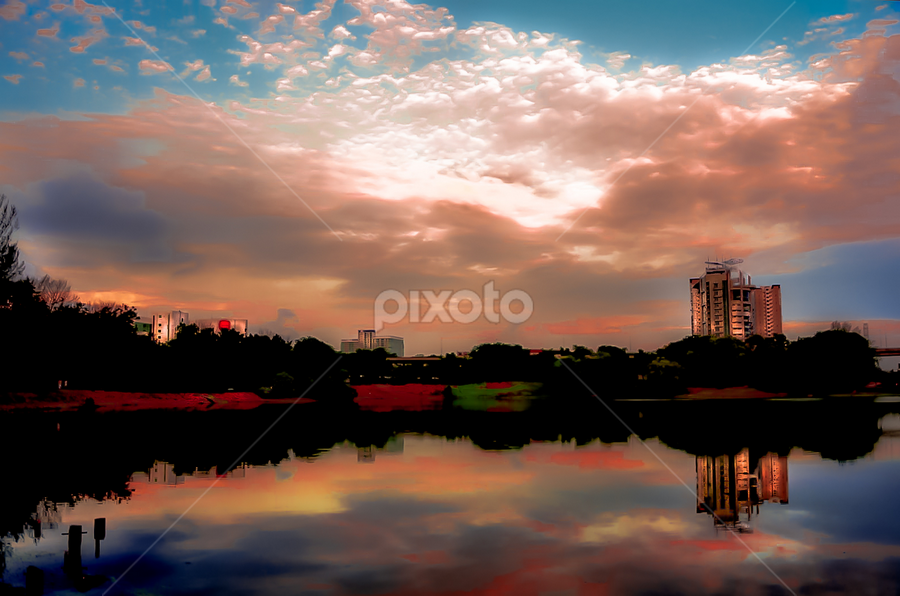 Heaven n Earth. by Jamaluddin Abdul Jalil - Landscapes Sunsets & Sunrises ( #reflections#water#landscape#sunset, #color#lakeside#malaysia,  )