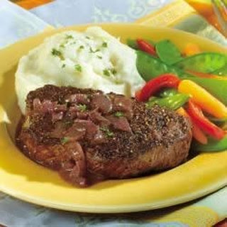 Peppercorn-Seasoned Steaks with Mustard-Wine Sauce