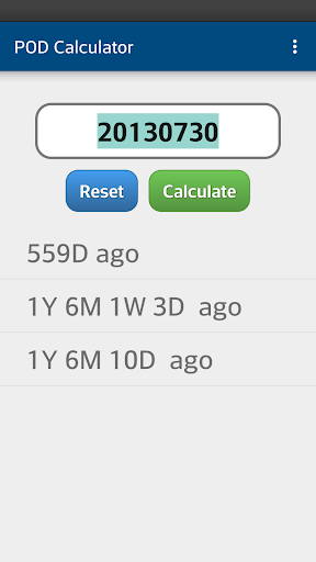 POD Calculator 지난 날 수 계산