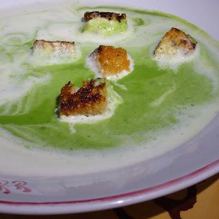 Spring Pea Soup, Garlic Croutons, Lemongrass Cream