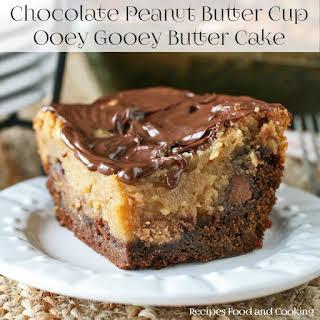 Chocolate Peanut Butter Ooey Gooey Butter Cake.
