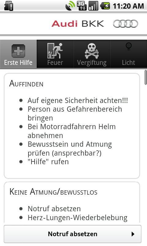 Audi BKK Notfall-Hilfe- screenshot