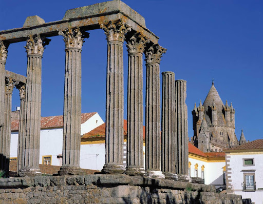 Roman-Temple-Evora-Portugal - The Roman Temple of Evora, Portugal.