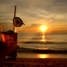 Cocktail Hour by Matt Hulland - Food & Drink Alcohol & Drinks ( sunset, waves, drink, cocktail, beach )