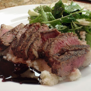 Espresso Rubbed New York Steak With Caramel Bourbon Sauce