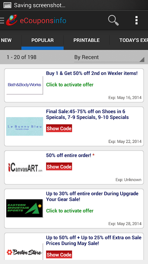 eCouponsinfo.com Coupons- screenshot