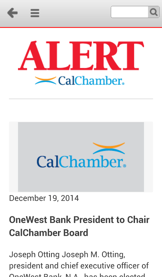 CalChamber Alert- screenshot