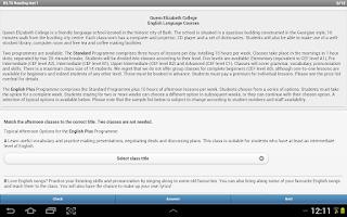 Screenshot of IELTS Reading