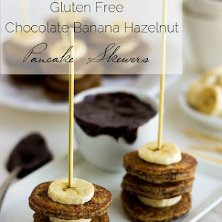 Gluten Free Pancake Skewers with Hazelnut Meal, Bananas and Chocolate Dip
