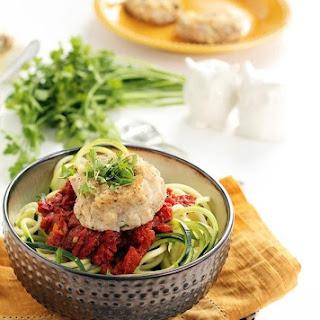 Cauliflower Feta Meatballs And Spicy Harissa Tomato Zucchini Noodles