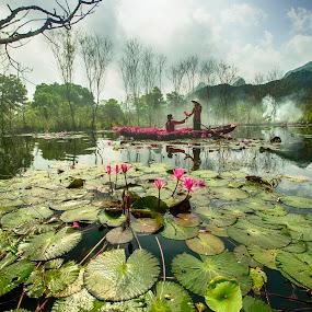 Stream flower by Nguyen Thanh Cong - Uncategorized All Uncategorized ( stream, chua huong, vietnam, landscape, flower )
