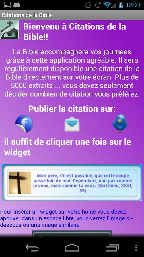 Citations de la Bible Gratuite - screenshot