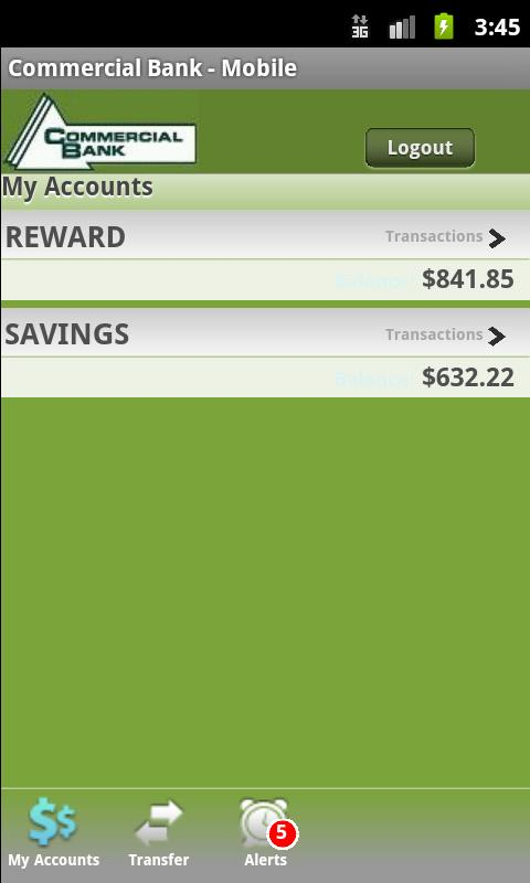 Commercial Bank - Mobile - screenshot