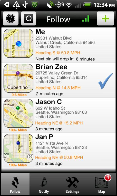 iTrack (GPS Phone Tracking) - screenshot