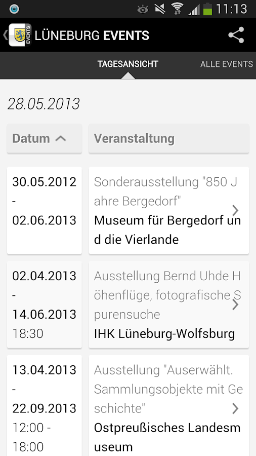 LUNEBURG EVENTS › Eventguide- screenshot