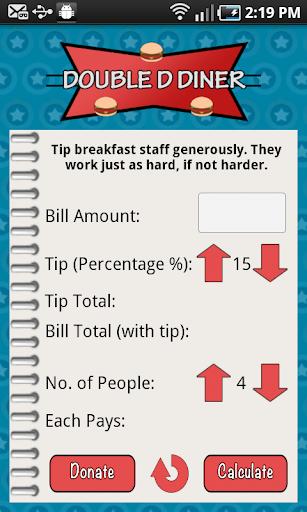 Double D Diner Tip Calculator