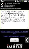 Screenshot of IVONA Giorgio Italian beta