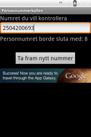Personnummerkollen- screenshot