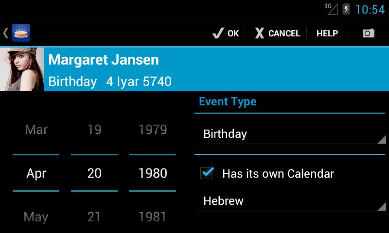 Birthdays - screenshot