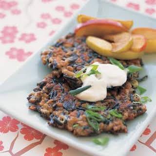 Wild Rice Cakes with Smoked Mozzarella and Pecans.