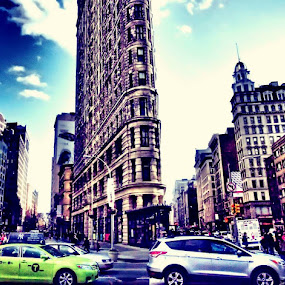 The Flatiron Building by Lisa Stornes - Buildings & Architecture Office Buildings & Hotels ( structure, building, automobile, people )