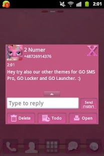 GO SMS PRO Theme Pink Pony- screenshot thumbnail