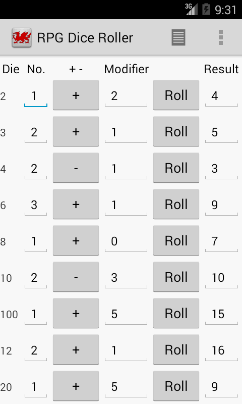 RPG Dice Roller- screenshot