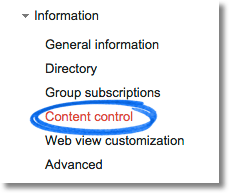Information - Content control