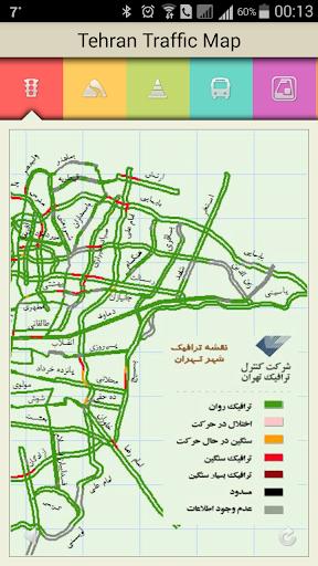 نقشه ترافیک شهر تهران وجاده ها