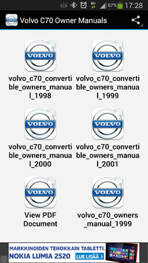 Volvo C70 Owner Manuals