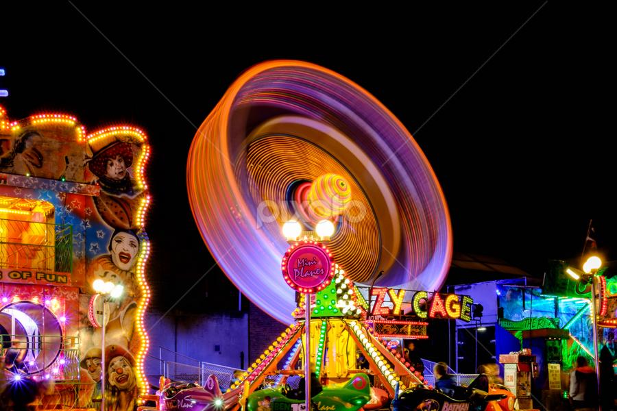 Coal Orchard Fair by Parker Lord - City,  Street & Park  Amusement Parks ( lights, somerset, lord parker photography, taunton, long exposure, night, fair, portrait,  )