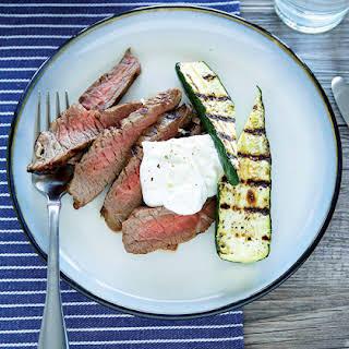 Sirloin Steak with Horseradish Sour Cream.