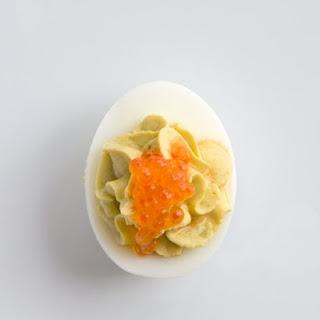 Avocado, Anchovy, Caviar Deviled Eggs