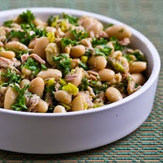 Spicy Cannellini Bean Salad with Tuna, Peperoncini, and Parsley.