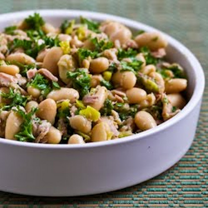 Spicy Cannellini Bean Salad with Tuna, Peperoncini, and Parsley Recipe