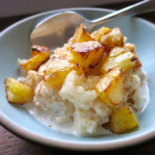 Coconut Rice Pudding with Warm Pineapple.