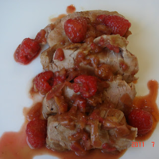 Pan Roasted Pork Tenderloin with Raspberry Reduction.