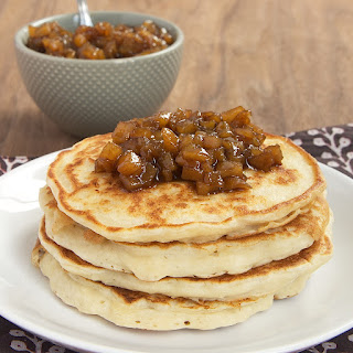 Ricotta Almond Pancakes with Cinnamon Pear Topping