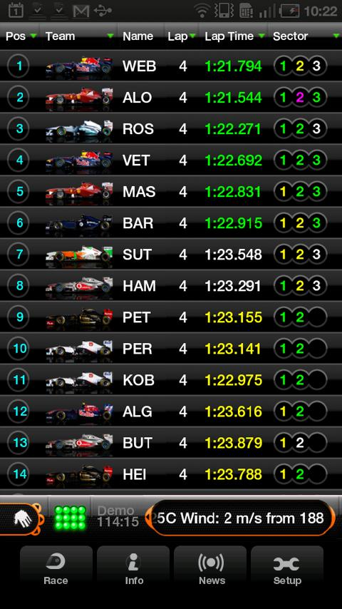 F1 2011 Timing App - Premium - screenshot