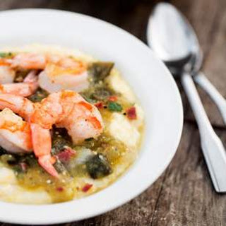 Shrimp & Grits with Tomatillo Sauce.