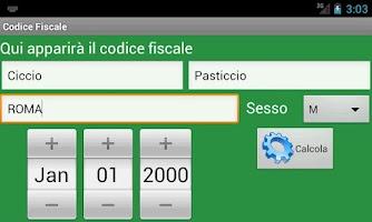 Screenshot of Codice Fiscale