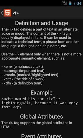 HTML5 Reference Pro Screenshot