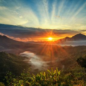 Sunchild by Kadek Jaya - Landscapes Mountains & Hills ( bali, sky, mountain, morning, flare, sun )
